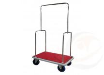 Carrello portabagagli in acciaio cromato piano rivestito in moquette rossa